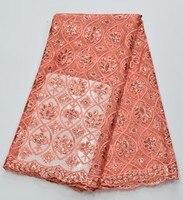 Последний тип Африканских Кружева Ткани Вышитые Асо Ebi кружевной Ткани для платья Партии, мода африканских кружева, тюль