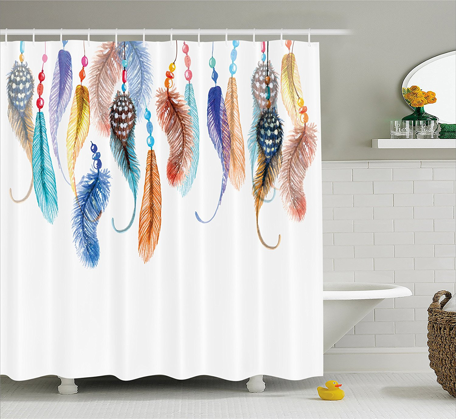 Feather House Decor Shower Curtain Primitive Hippie With South Western Dove Eagle Hawk Raven Feathers Artwork In Shower Curtains From Home Garden