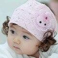 Los niños coreanos del cordón pelucas del pelo Princesa Conejito Del Bebé Del tocado de la venda de la muchacha Del Pelo accesorios para el cabello sombrero de verano cap