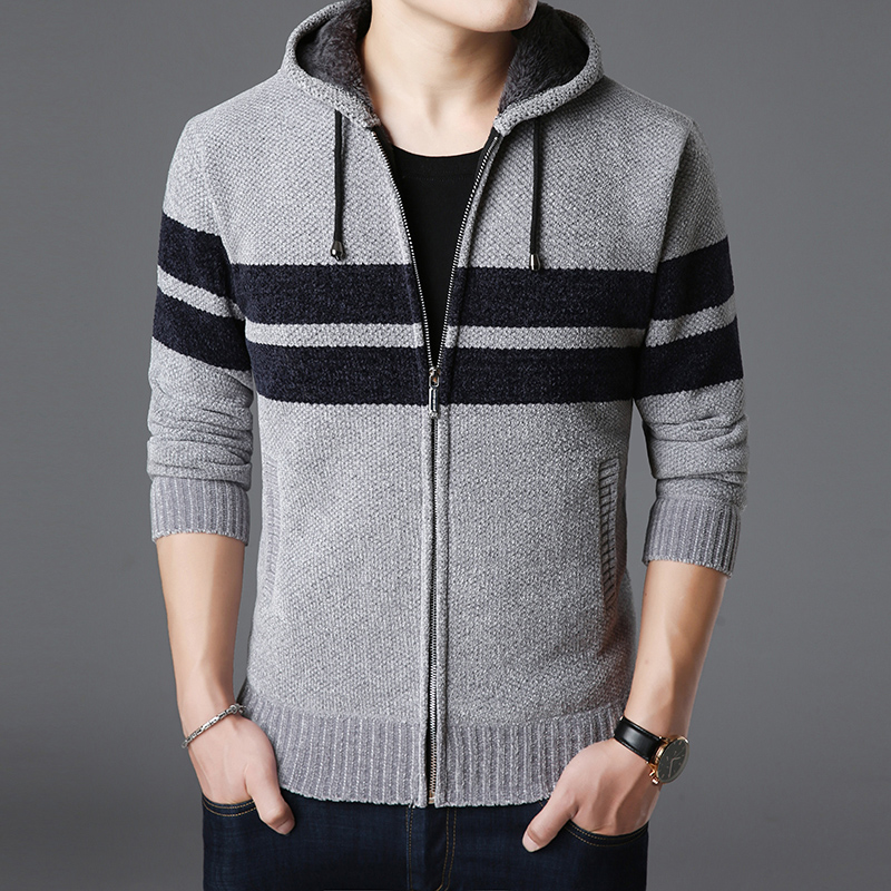 2019 New Fashion Brand Sweater Men Kardigan Striped Slim Fit Jumpers Knitwear Top Grade Winter Korean Style Casual Men Clothes