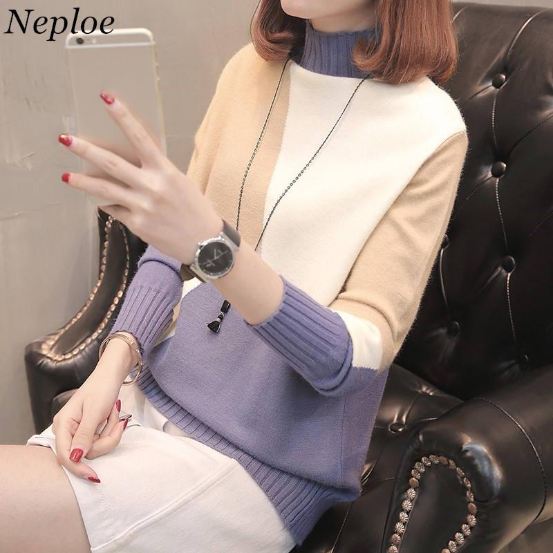 Neploe Pull mujer coreana moda suéter medio cuello alto contraste Color  tejido Jersey mujer Causal manga afd685634e77