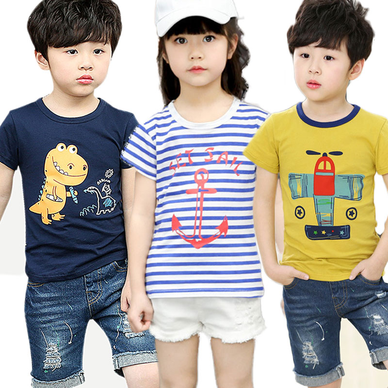 V-TREE 2018 Summer Boys T-shirt Cotton Shirts For Girls 2-10 Years Children Tops Kids Tees Baby Outerwear ClothingV-TREE 2018 Summer Boys T-shirt Cotton Shirts For Girls 2-10 Years Children Tops Kids Tees Baby Outerwear Clothing
