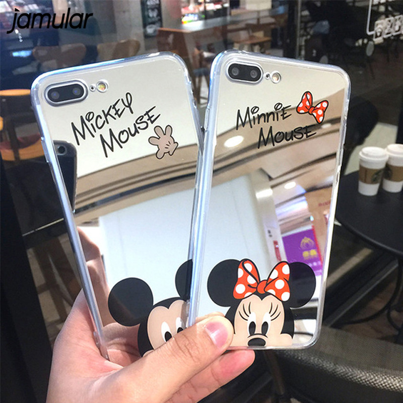 Mirror Case Makeup Cartoon Lover Mickey Minnie Mouse Soft TPU Silicone Case For IPhone 7 7