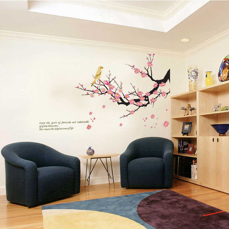 Inverno Ameixa Ramos de Árvore do Pássaro do Amor Adesivos de Parede Quarto Sala de Estar sala de Tv Sofá Fundo papel de parede DIY Decoração de Casa PVC Arte Mural decalque