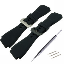 For Bell 24mm Silicone Rubber Watch Strap/Band Ross BR-01 BR-03 PVD Clasp Black Coffee Gray