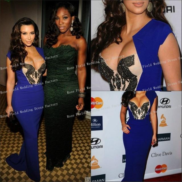 e30d46645d Latest Kim Kardashian Royal Blue Dress Sexy Deep V-Neck Red Carpet Dresses  Handmade Beaded Sheath Floor Length Celebrity Dresses