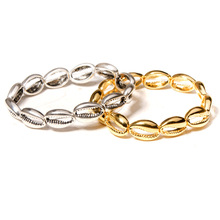Europe and America Gold and Silver Alloy Shell Bracelet Summer Hot Sale Handmade Beaded Bracelet Bangle hot sale natural diamond emerald bracelet bangle in solid 18k white gold bracelet oval 4x6mm na0035