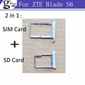 Original for ZTE Blade S6 SIM Card Tray + Micro SD Card Tray Holder Slot Adapter Socket Replacement Repair Parts Silver