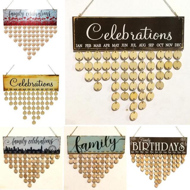Hanging Diy Family Birthday Calendar Wooden Board Birthday Reminder