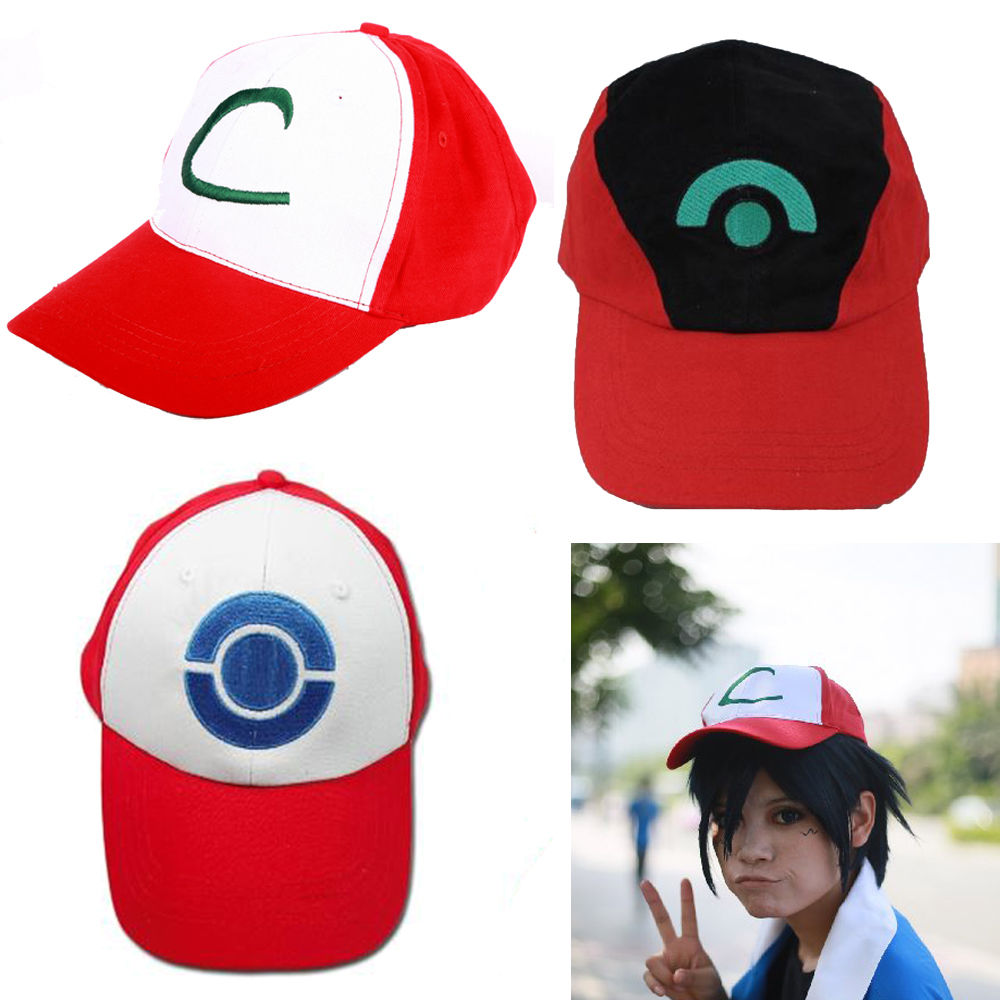 Anime Pokemon ASH KETCHUM Trainer Cosplay Cap Red Hat Embroidered Logo