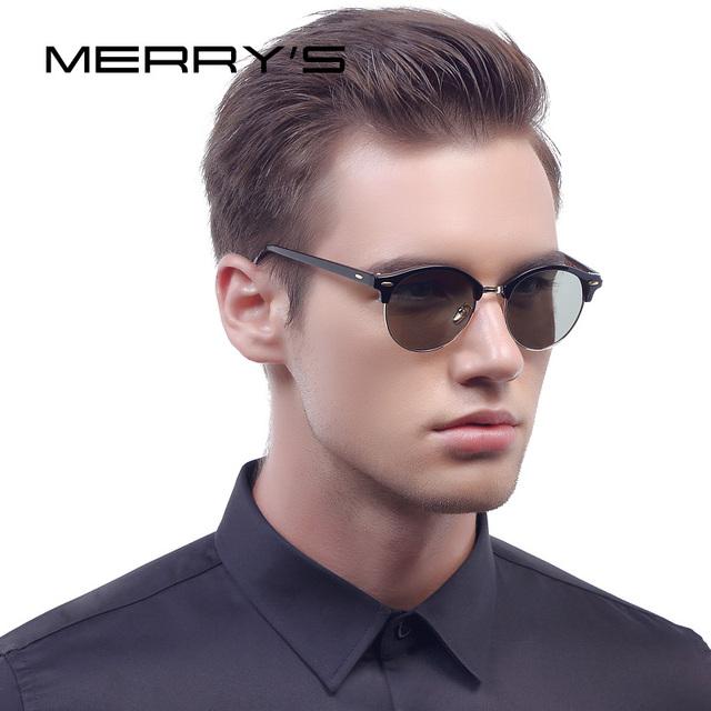 Merry's homens retro rebite óculos polarizados clássicos grife unissex óculos de sol metade quadro s'8054