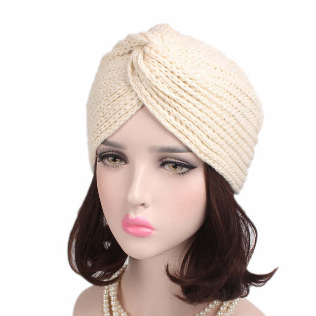 placeholder Muslim Winter Hat Warm Knit Cap Beanie Sleep Chemo Turban  Headwear Cancer Patients e3e1d9a2f2b