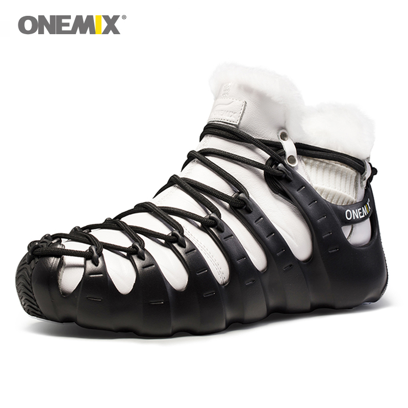 Hot onemix Winter Men's Trekking shoes Anti Slip Walking Shoes Comfortable Warm Outdoor Sneakers for Women winter keeping shoes 2017 new anti slip women winter martin