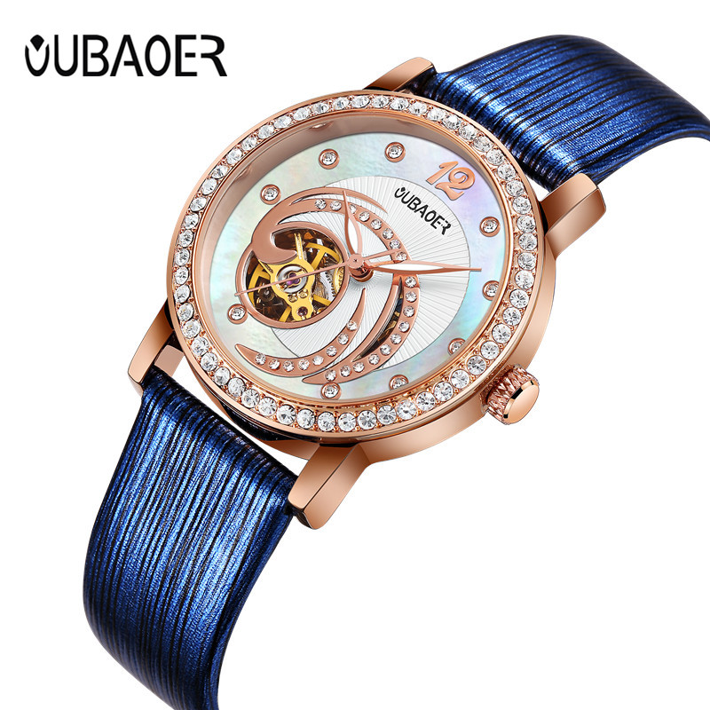 Kobiet Zegarka Top Luxury Brand Women Automatic Watch Woman Fashion Dress Watches Waterproof Rhinestone Dates Wristwatch Montre winner woman s watch fashion lady design brand automatic dress wristwatch wrl8011m3g3