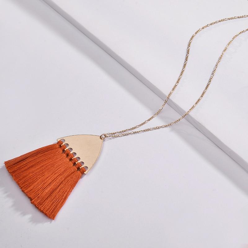ZWPON Boho Fan Fringe Tassel Pendant Long Necklace