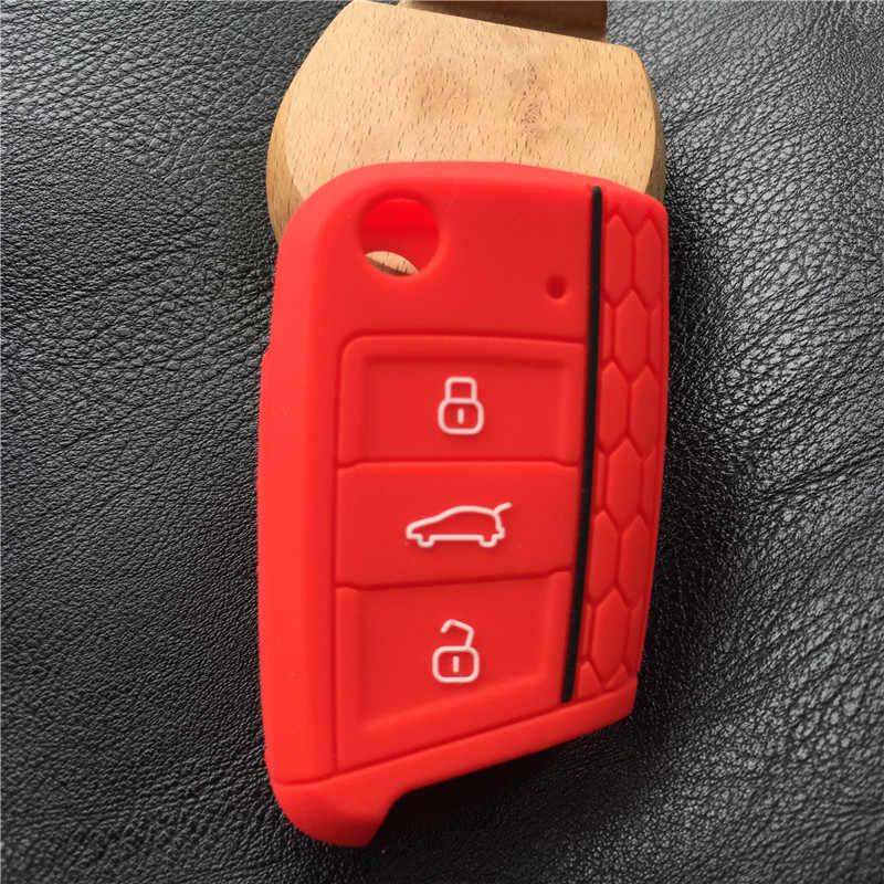 シリコーン車のキーfobを保護カバーケースセットスキン用vwポロゴルフ7 mk7ためシュコダオクタコンビa7用座席レオンイビサcuptra
