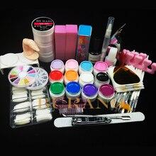 12 Color UV Gel Practice Fingers Cutter top coat Nail Art DIY Tool Kits Sets #001set manicure set