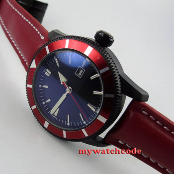 46mm black sterile dial red strap PVD case automatic movement mens watch 22
