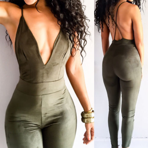 Summer Women Ladies Club wear Sexy V-Neck Sleeveless Backless Solid Party Jumpsuit Romper Shorts New ...