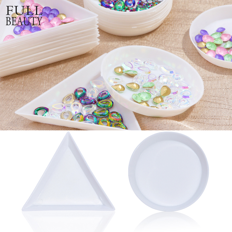 Full Beauty Triangle Plastic Rhinestone Nail Art Storage Box Plate Tray Holder Container Jewelry Glitter Cup Manicure Tool CHA11