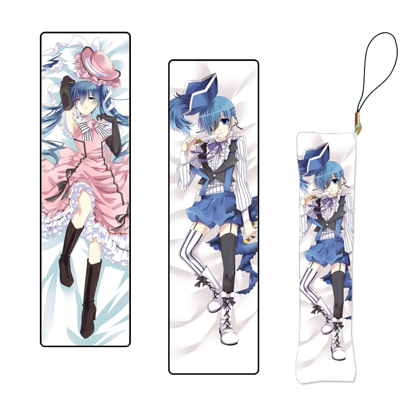 Black Butler Japanese Anime Ciel Phantomhive Print Mini Dakimakura Hanging Ornament Pillow Keychain Phone Strap Gift Custom Made