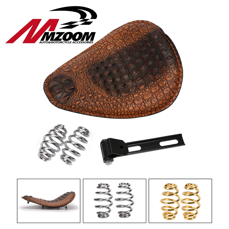 Free shipping Motorcycle Retro Brown Crocodile Leather Solo Seat+3 Spring Bracket for Custom Chopper Bobber Leather Saddle Seat possbay retro black motorcycle solo seat with mount bracket springs for harley custom chopper bobber leather saddle seat