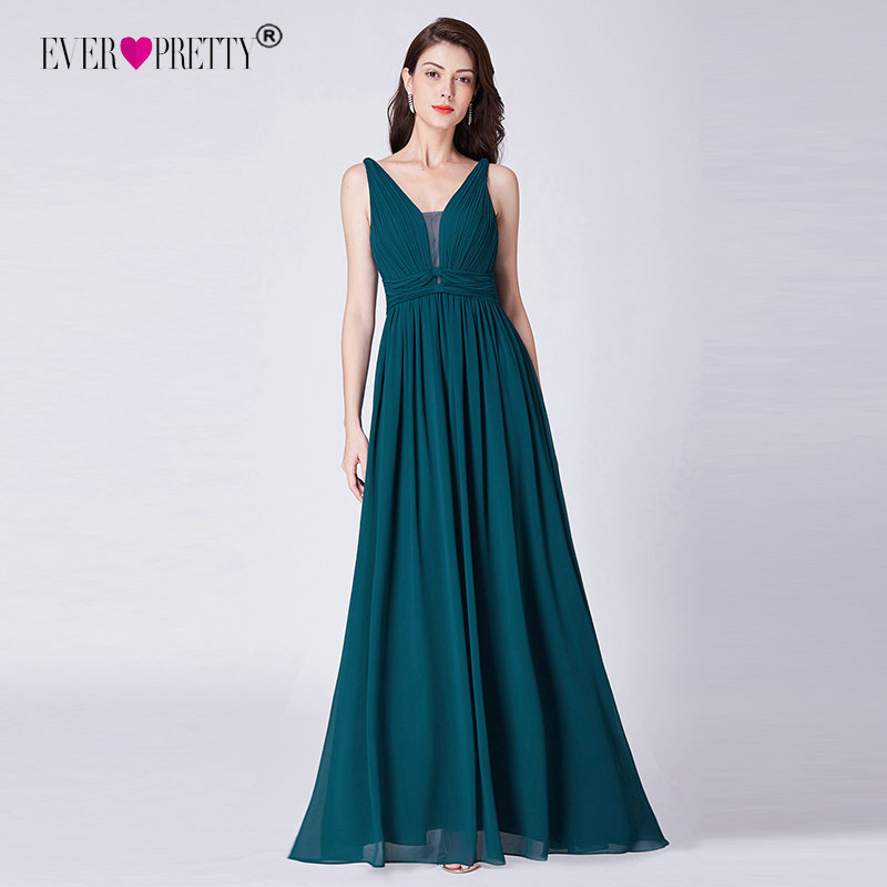 Evening Dresses Long 2019 Ever Pretty EP07499 Teal A-line Chiffon Party Gowns for Ladies Elegant Mother of the Bride Dresses