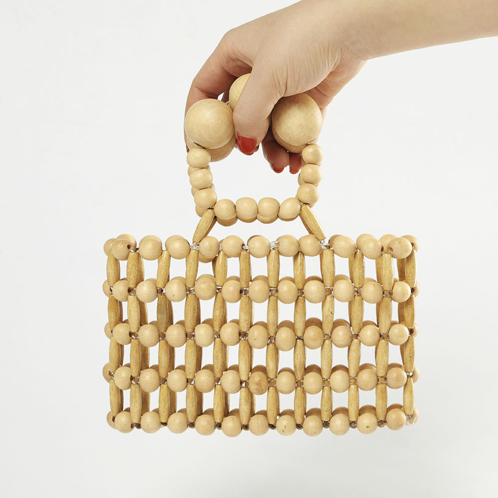 Travel Beach Bamboo bag vintage wood beaded handbag beading beach bags tote bags for Women in Travel Bags from Luggage Bags