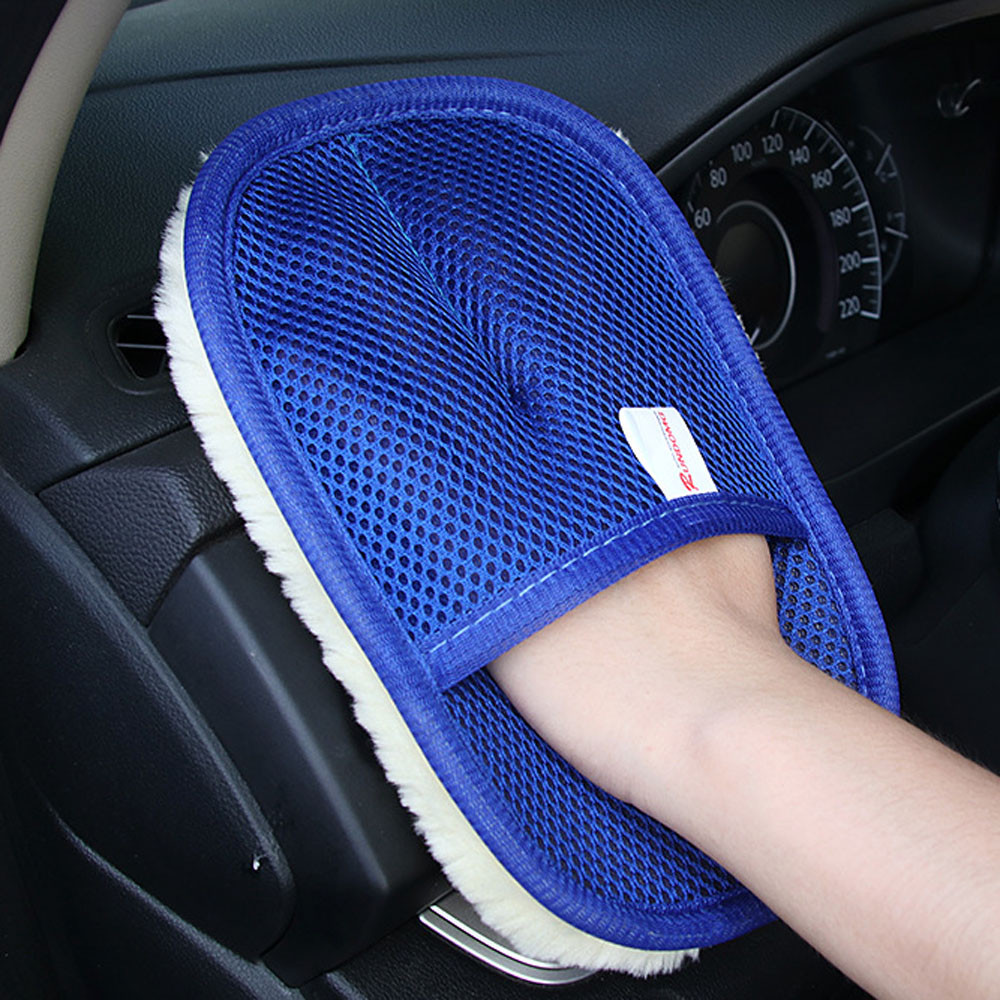 Glass-Cleaner Cleaning-Gloves Car-Wash Blue 1PCS A11 Wave Triangle