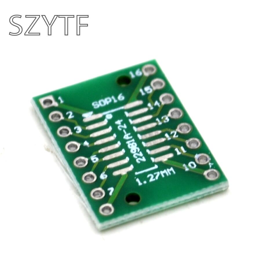 10pcs Bag Adapter Plate Sop16 Ssop16 Tssop16 Sop To Dip 065 127 Board 8x12cm Single Spray Tin Universal Circuit 127mm