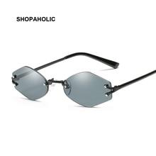 Fashion Rimless Sunglasses Women Brand Designer Small Frame