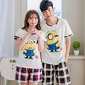 Amantes pijama de algodão adorável adulto minion pijama treino casual para as mulheres pessoas pequenas amarelas plus size M-XXXL pijamas homens