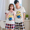 Lovers cotton pijama lovely adult minion pajamas casual tracksuit for women little yellow people plus size M-XXXL pyjamas men