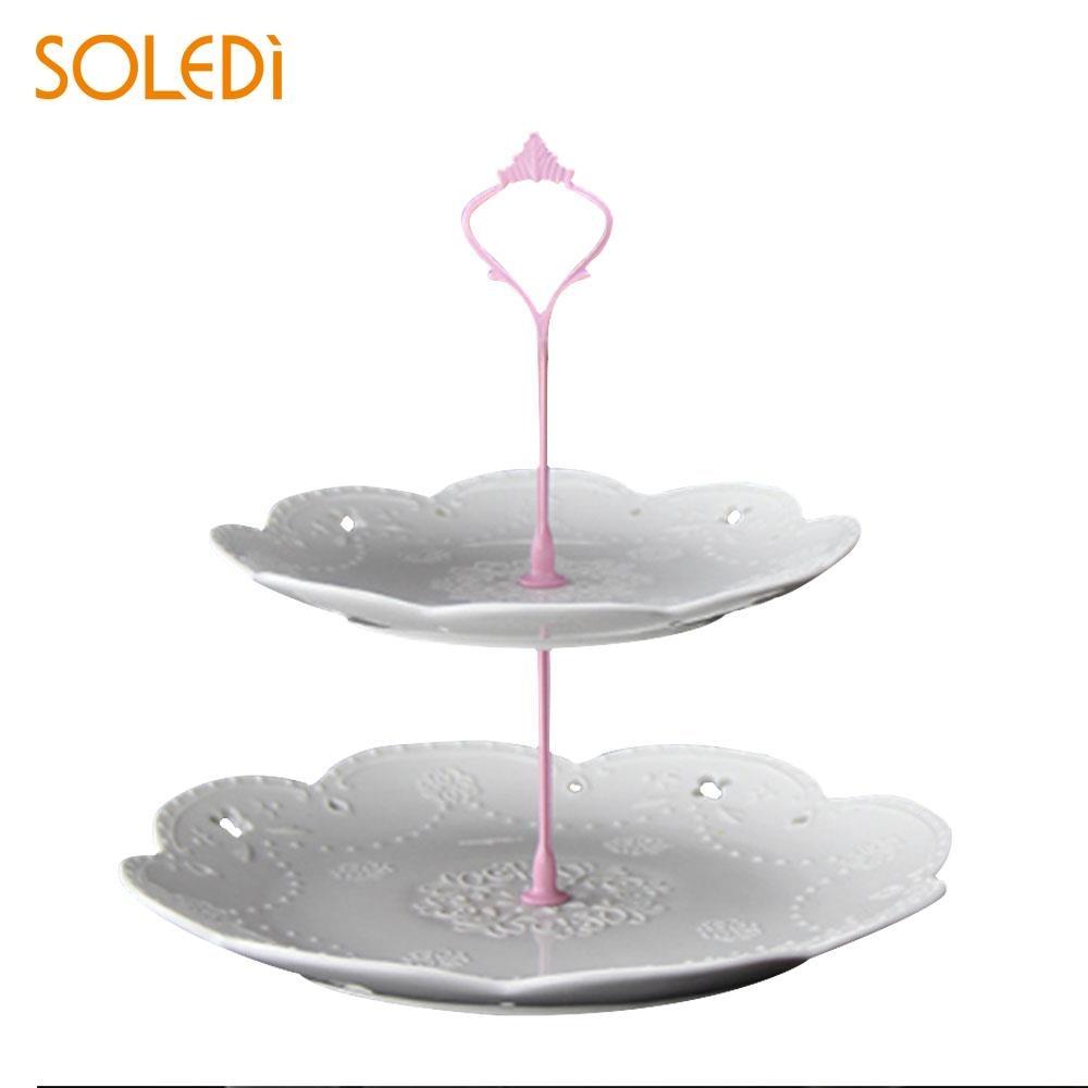 Металлическая подставка для торта с короной для свадебной вечеринки, посуда для выпечки, подставка для торта, 2/3 - Цвет: two Layers pink