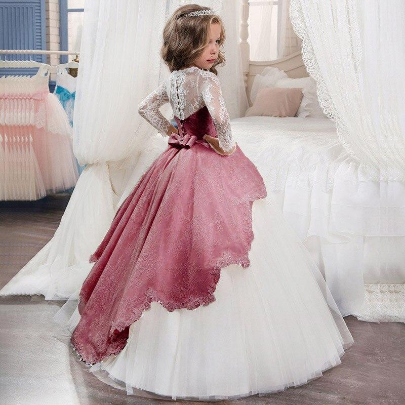 Новинка года, Открытое платье с цветочным рисунком на спине для девочек высококачественное свадебное платье с цветочным узором для мальчиков элегантное праздничное платье с кружевом и цветочным узором для девочек - Цвет: red