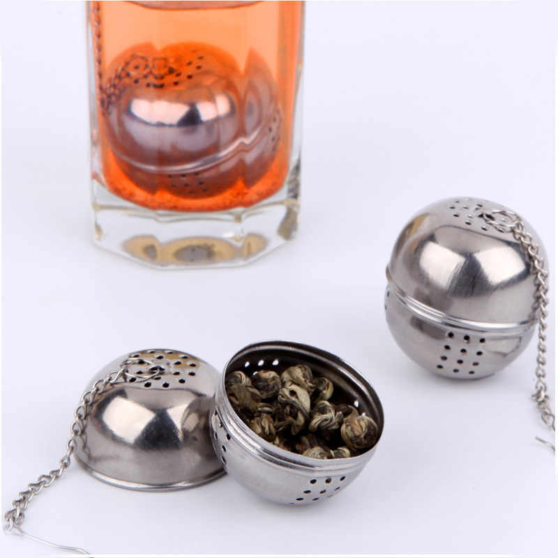 For Loose Tea Leaf Spice Home Kitchen Accessories Mesh Filter Strainer Hangable Stainless Steel Ball Shape Tea Infuser