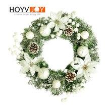 HOYVJOY New Year Wreaths round Handcrafted Elegant Pine Flowers Garland Door Wall Festival Party Supplies