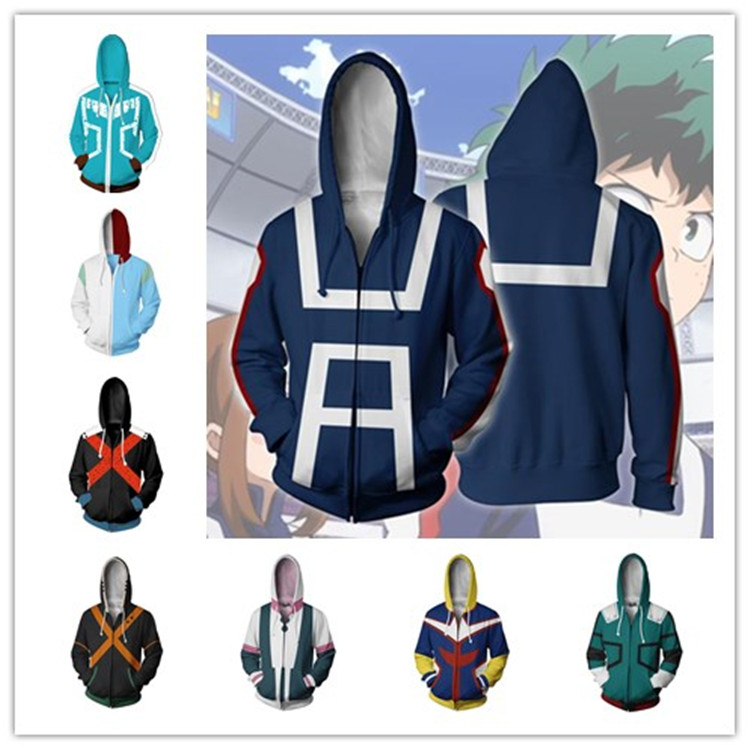 Anime Boku no My Hero Academia Dek 3D Outfits Hoodie Jacket Coat Uniform T-shirt Bakugou Katsuki Todoro Shouto Cosplay Costume