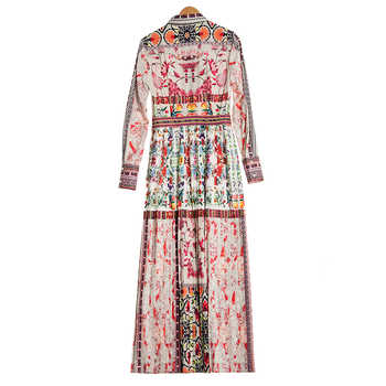 Bohemian Long Dress 2018 Spring Summer Elegant Fashion Bow Print Flower Dresses Geometric Pleated Luxury Dress for Women