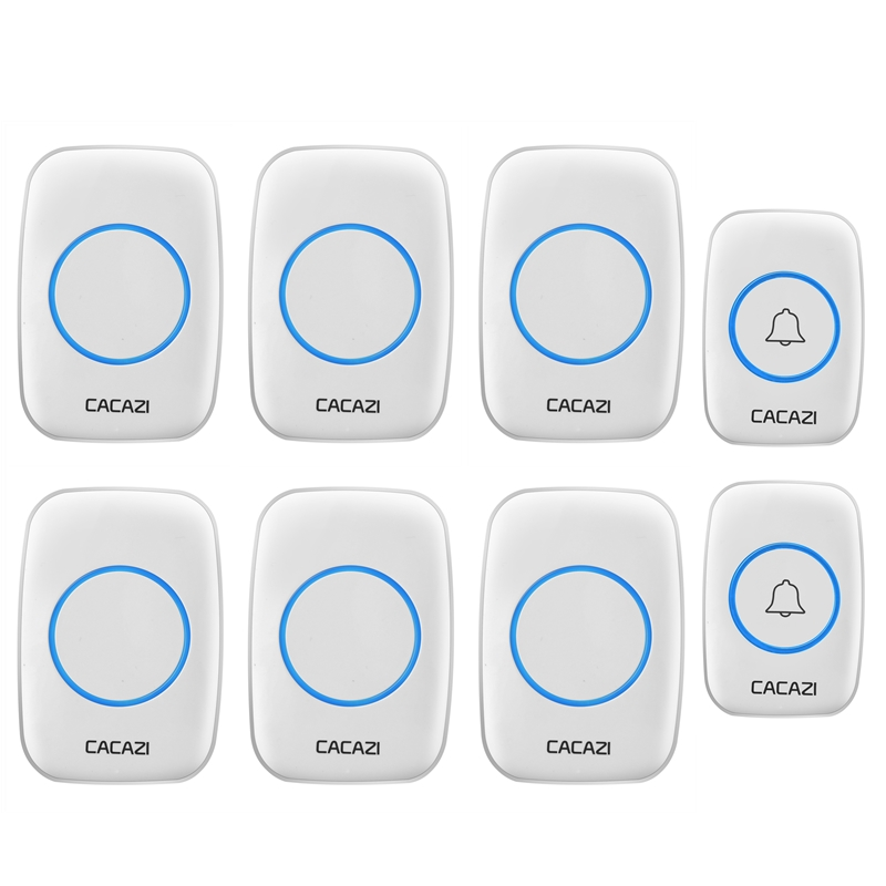 CACAZI AC 100-240V wireless doorbell 2 waterproof transmitters+6 receiverS 300M remote door bell home 38 chimes door ring cacazi ac 110 220v wireless doorbell 1 transmitter 6 receivers eu us uk plug 300m remote door bell 3 volume 38 rings door chime