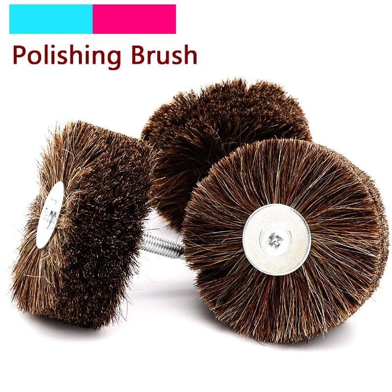 1pcs Horse Hair Wheel Brush Abrasive Wire Grinding Flower Head Woodworking Polishing Brush Bench Grinder For Wood Furniture