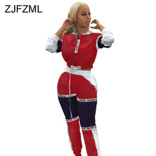 купить Sexy Two Piece Set Summer Clothes For Women Stand Collar Long Sleeve Crop Top And Long Pant Contrast Color Patchwork Tracksuits онлайн