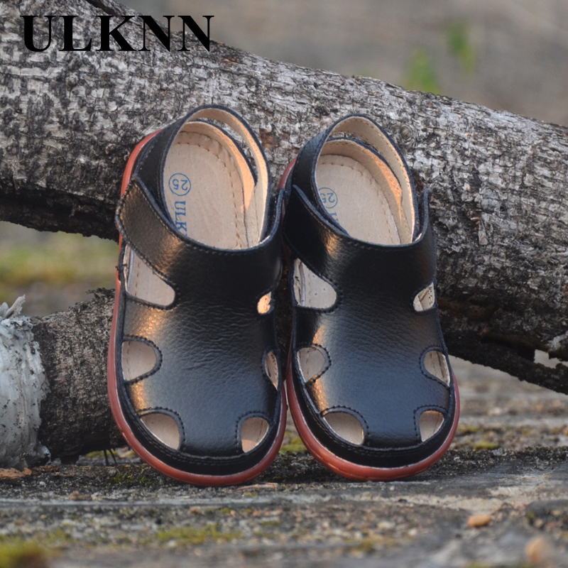 2018 Children Sandals Genuine Leather Sandals Leather Boys Girls Baby Pierced Breathable Comfort Joker Slip Summer New Baotou
