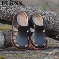 2020 детские сандалии из натуральной кожи; Кожаные сандалии для мальчиков и девочек; Дышащие удобные Летние слипоны; Baotou