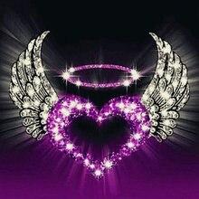 5d diy алмазная живопись сердце крыло значок квадратный полный Алмазная вышивка Мозаика горный хрусталь домашний декор