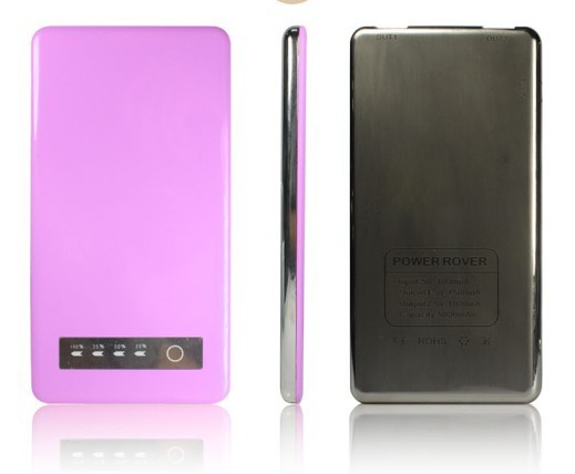 5000mAh Portable Power Bank with LED flashlight Aluminium housing for iPhone Samsung HTC Mobile Phone