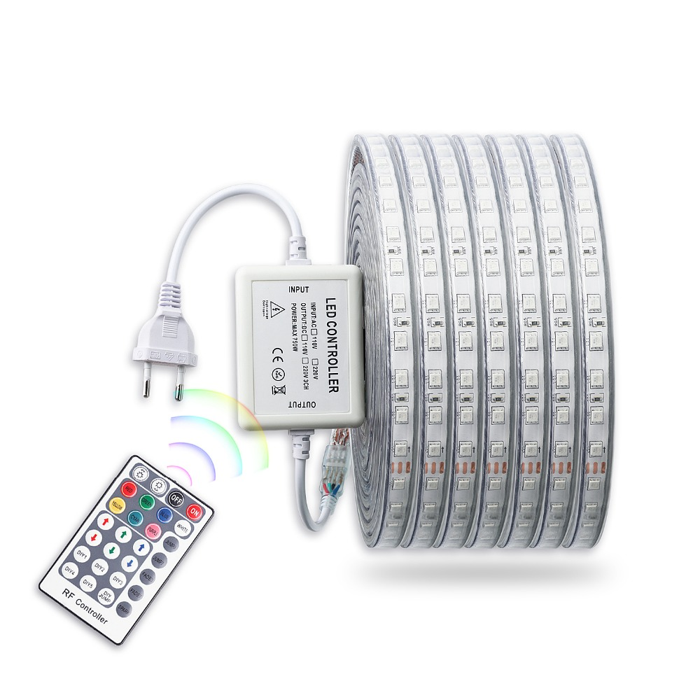 220V RGB Led Strip Light With Remote Controller Waterproof  Flexible Ledstrip 220 V 5050 SMD Diode Tape Lamp Ribbon Strips JQ