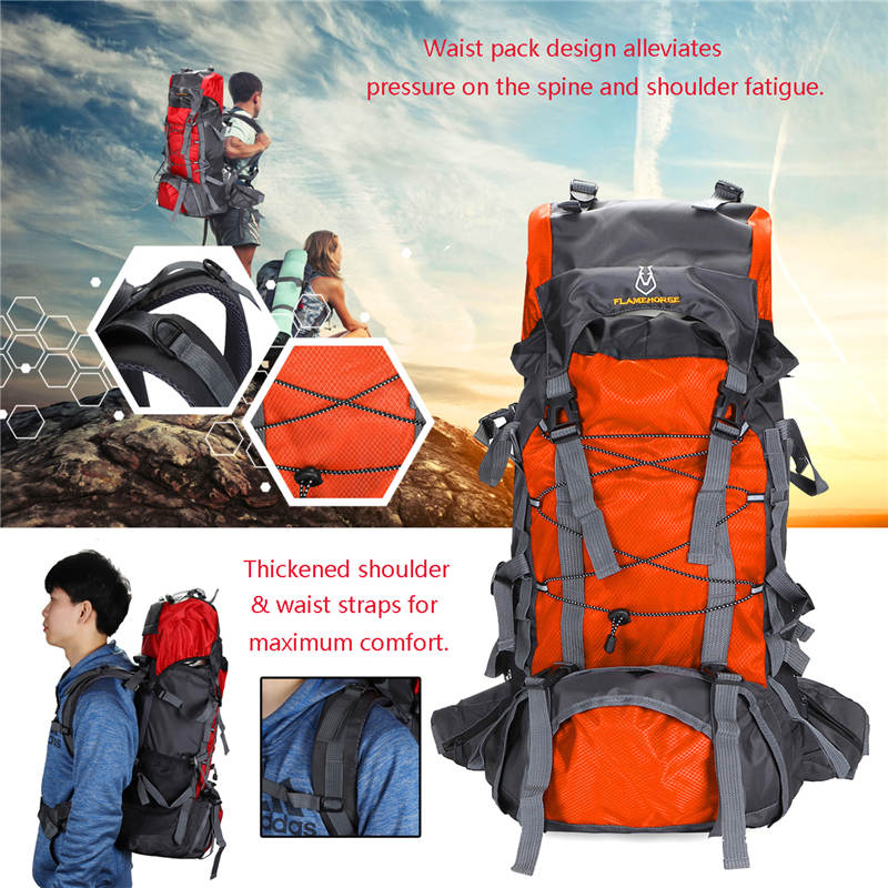 60L Capacity Waterproof Nylon Unisex Camping Travel Rucksack Waterproof Sports Outdoor Backpack Hiking Waist Bag Outdoor Sport 15l large capacity unisex waterproof nylon cycling bag mtb bike sports running backpack outdoor hiking sports backpack paquete