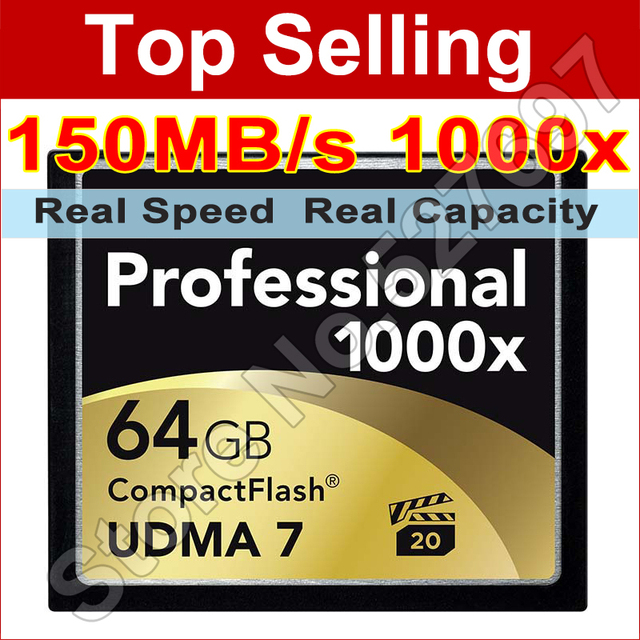 150MB/s Brand 1000x 64GB CF Card UDMA Compact Flash Memory Card For Digital SLR Camera Card 1080p Full HD 3D Video Camcorder DV