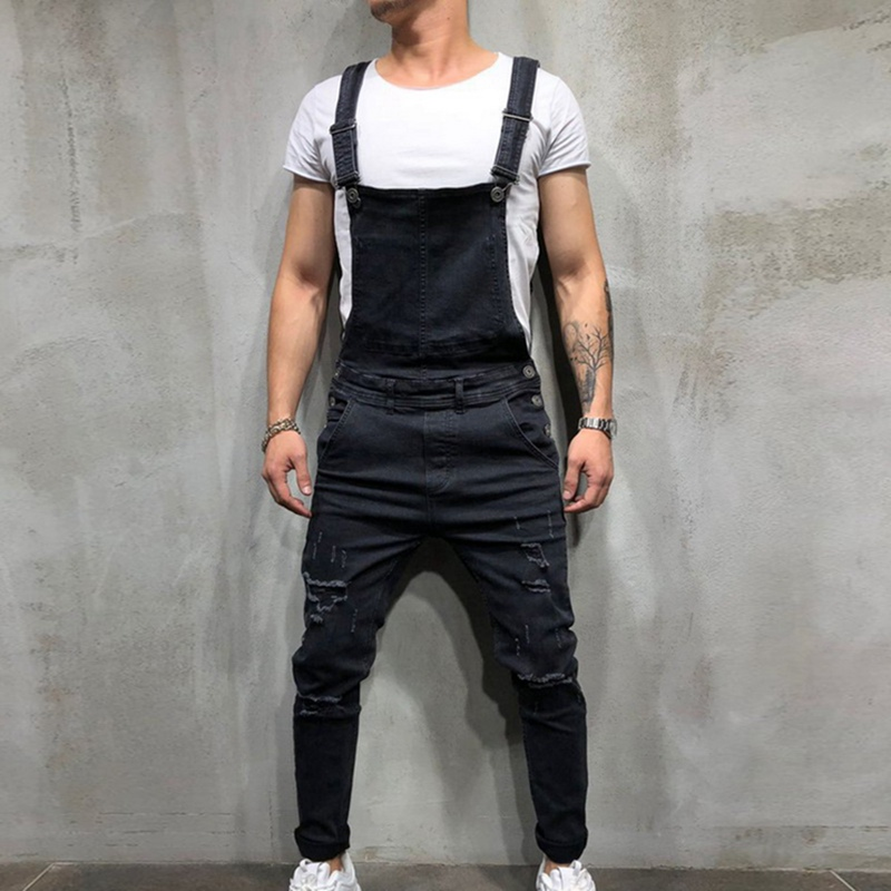 Mens Jeans Casual Hiphop Pants Fashion Men's Ripped Jean Jumpsuits High Street Distressed Denim Overalls For Man Suspender Pants